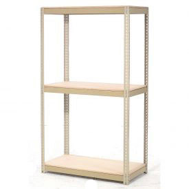 "Expandable Starter Rack 96""W x 48""D x 84""H Tan With 3 Level Wood Deck 1100lb Cap Per Level"