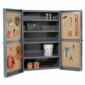 "Global™ ""Organizer"" Heavy Duty Storage Cabinet with Pegboard Panels 48x24x72"