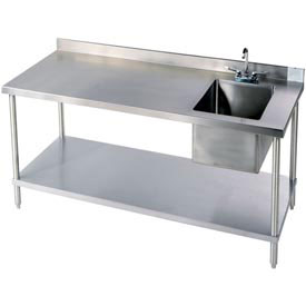 stainless steel workbenches with 4 backsplash sink