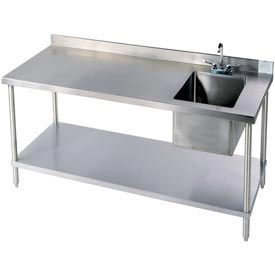 "Aero Manufacturing 2TSB3096\T100 96""W X 30""D 14 Gauge Stainless Workbench w/ Shelf & Right Sink"