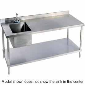 "Aero Manufacturing 2TGB3096T100 96""W X 30""D 14 Gauge Stainless Workbench w/ Shelf & Center Sink"