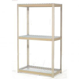 "Expandable Starter Rack 96""W x 24""D x 84""H Tan With 3 Level Wire Deck 1100lb Cap Per Level"