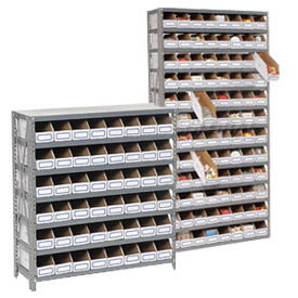 Steel Shelving With Corrugated Shelf Bins