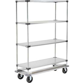 Nexel® Galvanized Shelf Truck with Dolly Base 60x18x70 1600 Pound Capacity