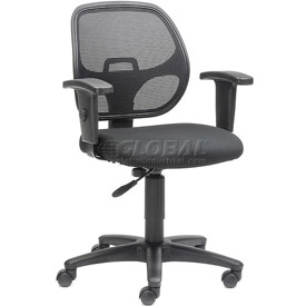 Interion® Mesh Back Task Chair with Adjustable Seat and Armrests