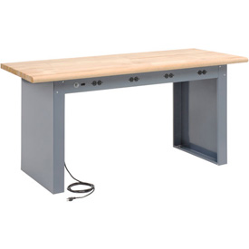 "72""W x 36"" D Panel Leg Workbench With Power Apron and Maple Butcher Block Safety Edge Top"