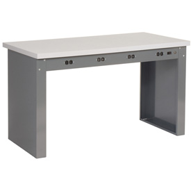 "72""W x 36""D Panel Leg Workbench With Power Apron and Plastic Laminate Square Edge Top"