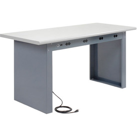 "60""W x 30""D Panel Leg Workbench With Power Apron and Plastic Laminate Safety Edge Top"