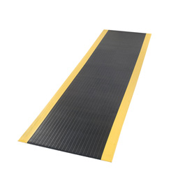 Ribbed Mat Black With Yellow Border 3/8 Inch Thick 36x144