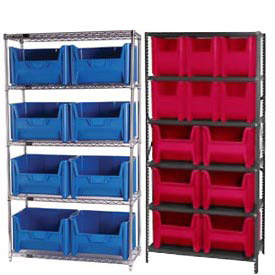 Shelving With Plastic Heavy Duty Hopper Bins