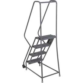 "4 Step Steel 16""W Step Tilt And Roll Ladder - Perforated Tread - KDTF104166"