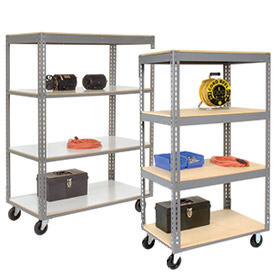 Easy Adjust Boltless Wood Shelf Storage Trucks