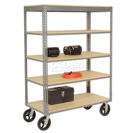 Easy Adjust Boltless 5 Shelf Truck 60 x 24 with Wood Shelves - Rubber Casters