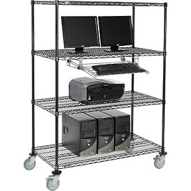 Mobile Wire Shelving Computer LAN Workstation