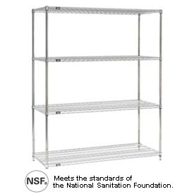 Nexel Stainless Steel Wire Shelving Add-On Unit 60x24x74