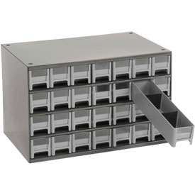 "Akro-Mils Steel Small Parts Storage Cabinet 19228 - 17""W x 11""D x 11""H w/ 28 Gray Drawers"