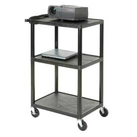 Plastic Audio Visual & Instrument Cart 32 X 24 X 40 Three Shelves