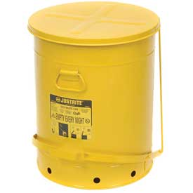 21 Gallon Justrite Oily Waste Can - Yellow