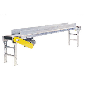 "Omni Metalcraft Powered 20""W x 10'L Belt Conveyor with 6""H Side Rails BHSE20-0-12-F60-0-0.5-4-SIDES"