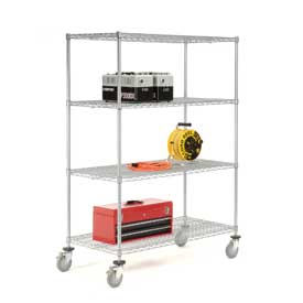 Nexelate Wire Shelf Truck 60x18x69 1200 Pound Capacity With Brakes