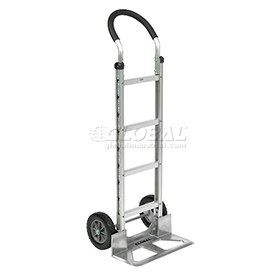 Global Industrial™ Aluminum Hand Truck - Curved Handle - Mold-On Rubber Wheels