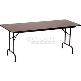 "Correll Melamine Top Folding Table, 30"" x 72"", Walnut"