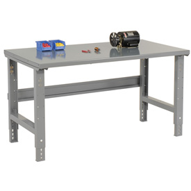 "60""W X 30""D Steel Square Edge Top Workbench - Adjustable Height - 1 3/4"" Top - Gray"