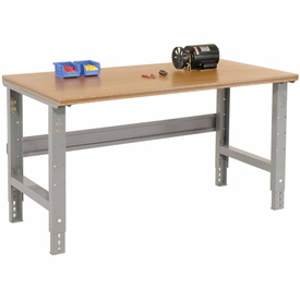 "72""W X 30""D Shop Top Square Edge Work Bench - Adjustable Height - 1-1/2"" Top - Gray"