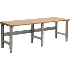 "96""W X 36""D Shop Top Square Edge Work Bench - Adjustable Height - 1-1/2"" Top - Gray"