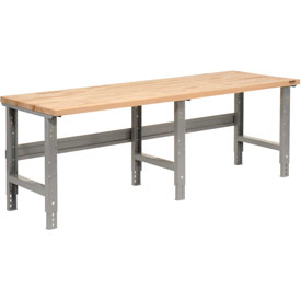 "96"" W x  36"" D Maple Butcher Block Square Edge Work Bench, Adjustable Height,1 3/4"" Top - Gray"