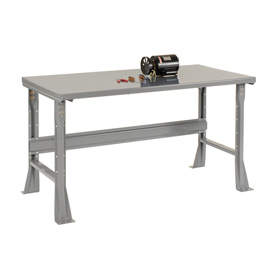 "60""W X 36""D X 34""H Steel Square Edge Workbench - Gray"