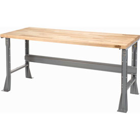 "72""W X 36""D X 34""H Maple Butcher Block Square Edge Workbench - Gray"