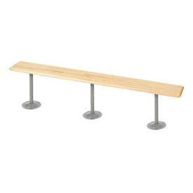 "Locker Bench Hardwood Top w/Steel Pedestals, Tube Style, 108""W x 9-1/2""D x 17""H"