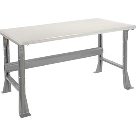"60""W X 30""D X 34""H Plastic Laminate Safety Edge Workbench - Gray"