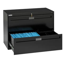 """Deluxe Fixed Front Lateral File Cabinet 36""""W X 28""""H - Black"""