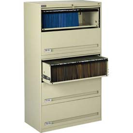 "Deluxe Retracting Front Lateral File Cabinet 36""W X 65""H - Putty"