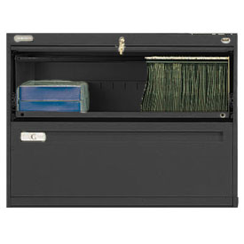 "Deluxe Retracting Front Lateral File Cabinet 42""W X 28""H - Black"