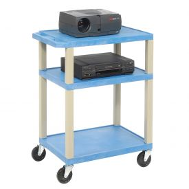 Plastic Utility Cart 3 Shelves Blue
