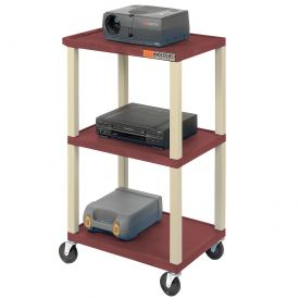 Plastic Utility Cart 3 Shelves Burgundy