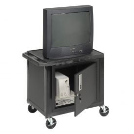 Plastic Utility Cart 2 Shelves Black With Security Cabinet