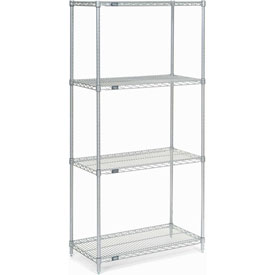 "74""H Nexel Chrome Wire Shelving - 36""W X 14""D"
