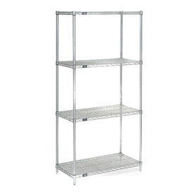 "74""H Nexel Chrome Wire Shelving - 36""W X 30""D"