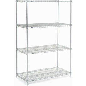 "74""H Nexel Chrome Wire Shelving - 48""W X 30""D"
