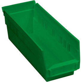 "Plastic Shelf Bin -  4-1/8""W x 11-5/8""D x 4""H Green - Pkg Qty 24"