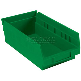 "Plastic Shelf Bin -  6-5/8""W x 11-5/8"" D x 4""H Green - Pkg Qty 12"