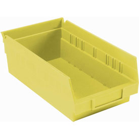 "Plastic Shelf Bin - 6-5/8""W x 11-5/8"" D x 4""H Yellow - Pkg Qty 12"