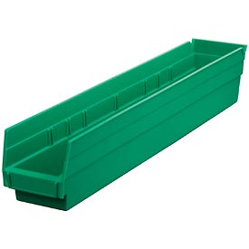 "Plastic Shelf Bin -  4-1/8""W x 23-5/8"" D x 4""H Green - Pkg Qty 12"