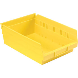 "Plastic Shelf Bin - 8-3/8""W x 11-5/8"" D x 4""H Yellow - Pkg Qty 12"