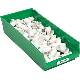 "Plastic Shelf Bin -  8-3/8""W x 17-7/8"" D x 4""H Green - Pkg Qty 12"