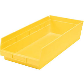 "Plastic Shelf Bin - 8-3/8""W x 17-7/8"" D x 4""H Yellow - Pkg Qty 12"